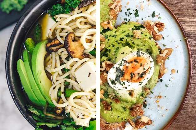 Two meals with avocado on it
