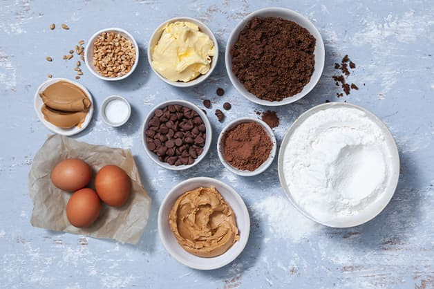 Raw ingredients for the peanut butter brownie recipe