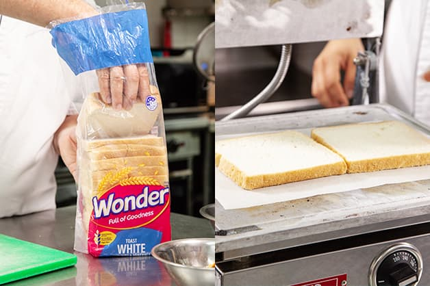 Toasting two slices of Wonder White Bread