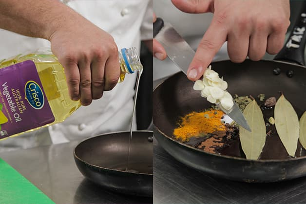 Adding the curry ingredients into a pan