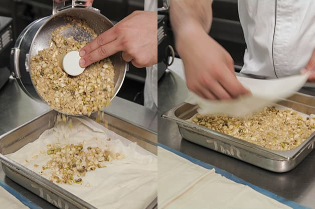 Pouring nuts over the Pampas Filo Pastry