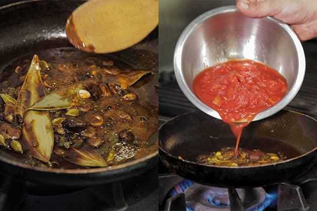 Adding tomato can into the curry mixture