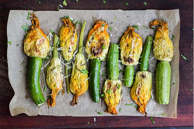 Image of Zucchini flowers stuffed with herbs and rice from Greece