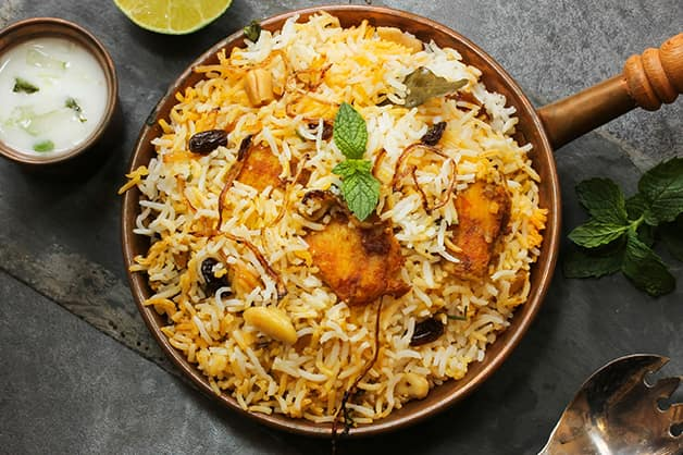 Indian biryani dish is pictured here