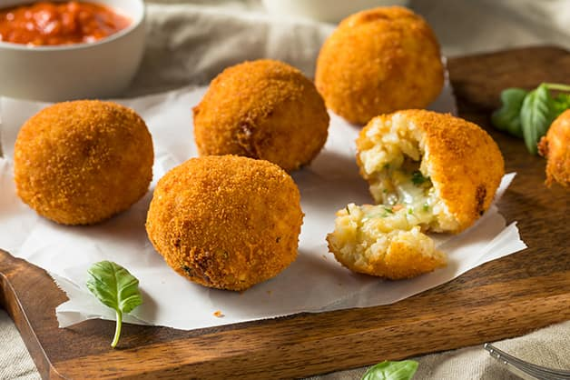 Arancini balls are here in this image