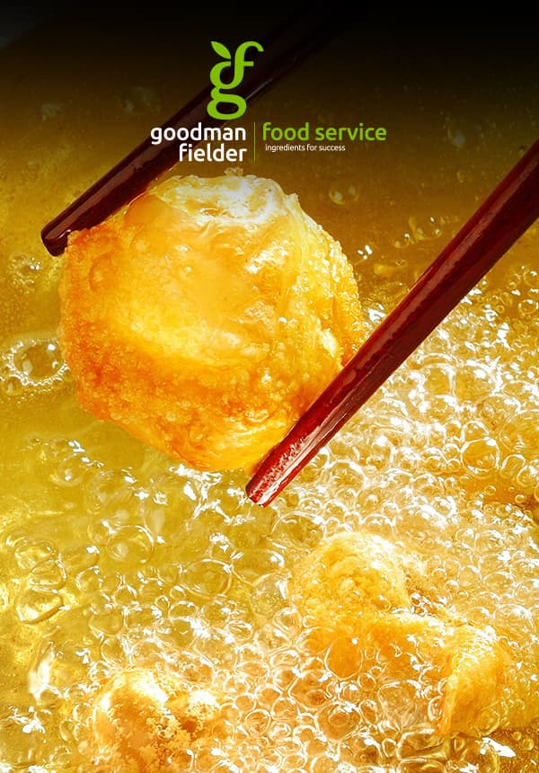 GF logo on image of vegetable oil being used to fry a donut