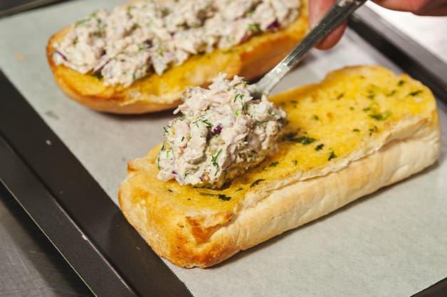 Add tuna mix to bread