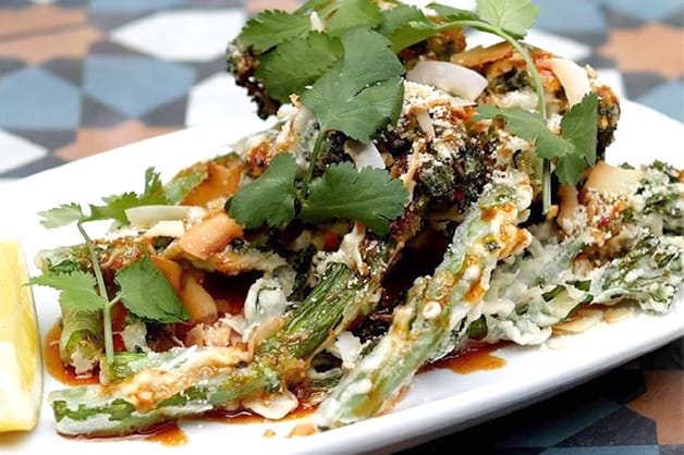 Yulli's Korean Fried Broccolini with Sticky Chilli Sauce, Toasted Coconut and Almond
