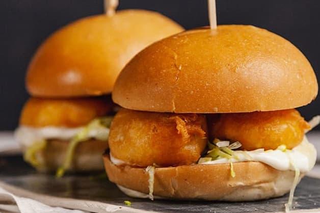 Mayo in a prawn burger